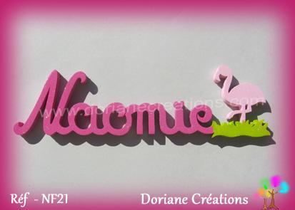 Prenom lettres bois naomie avec flamant rose
