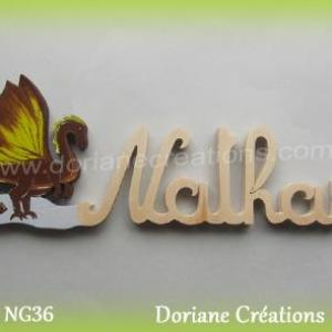 Prenom lettres bois nathan avec dragon