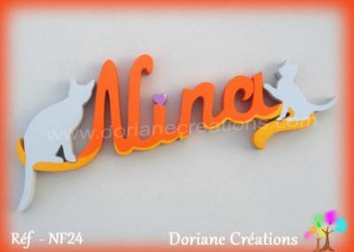 Prenom lettres bois nina avec silhoeuttes chats