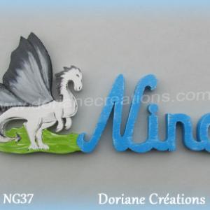 Prenom lettres bois nino avec dragon