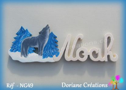 Prenom lettres bois noah loup