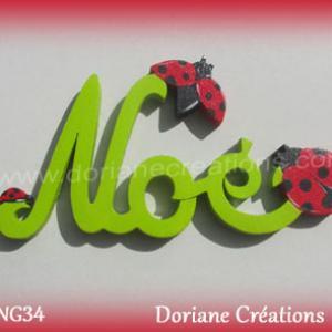Prenom lettres bois noe avec coccinelles