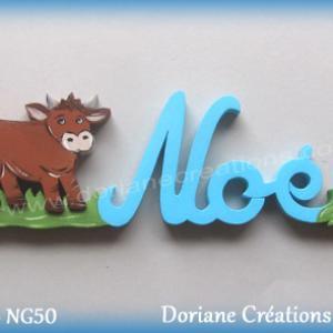 Prenom lettres bois noe avec vache