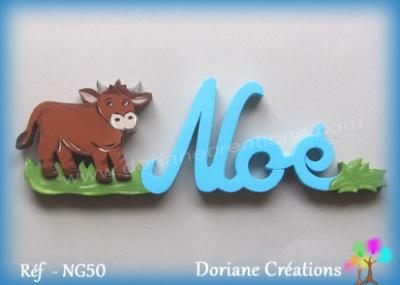 19 - Prénom lettres bois vache