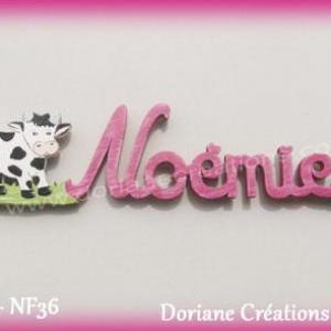 Prenom lettres bois noemie avec vache modifie 1