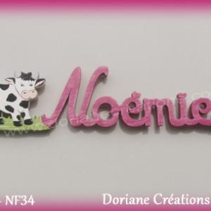 Prenom lettres bois noemie avec vache