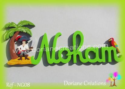 Prenom lettres bois noham pirate perroquet
