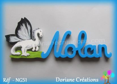 Prenom lettres bois nolan avec dragon