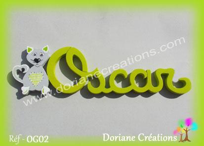 Prenom lettres bois oscar avec chat