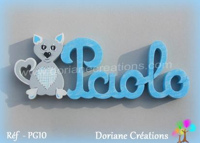 Prenom lettres bois paolo avec chat