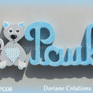 Prenom lettres bois paul avec chat