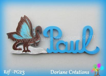 Prenom lettres bois paul avec dragon