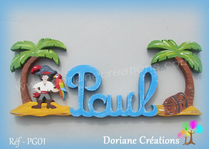 Prenom lettres bois paul pirate tresor