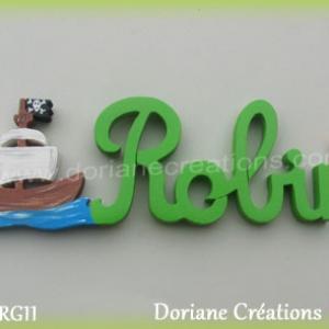 Prenom lettres bois robin bateau pirate