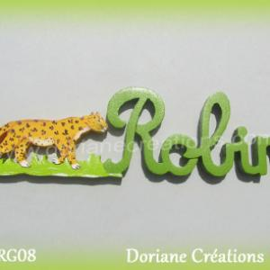 Prenom lettres bois robin leopard