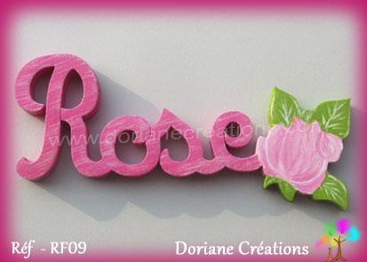 Prenom lettres bois rose avec rose