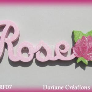 Prenom lettres bois rose rose
