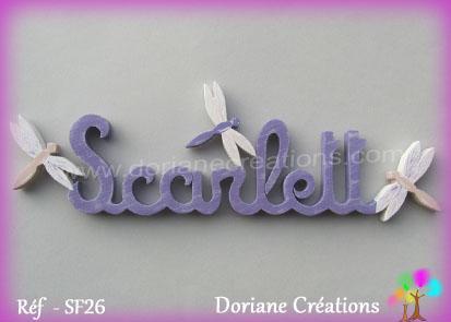Prenom lettres bois scarlett avec libellules