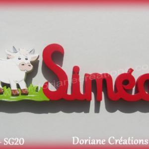 Prenom lettres bois simeo avec vache