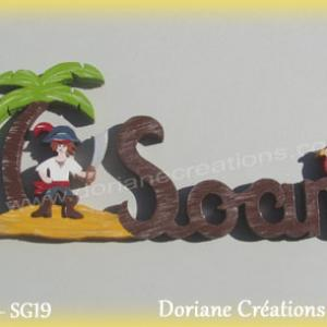 Prenom lettres bois soan pirate perroquet