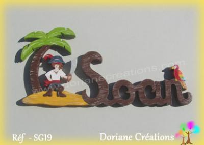 Prénom lettres bois pirate et perroquet