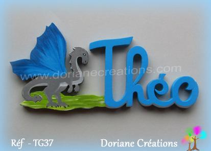 Prenom lettres bois theo avec dragon