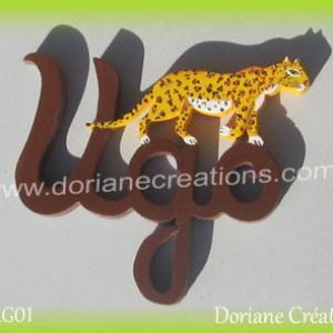 Prenom lettres bois ugo leopard