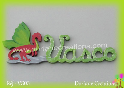 Prenom lettres bois vasco avec dragon