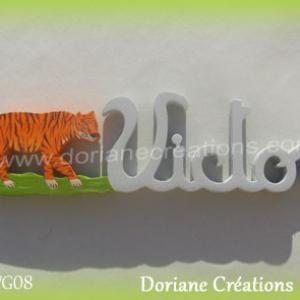 Prenom lettres bois victor tigre