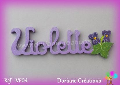 Prenom lettres bois violette