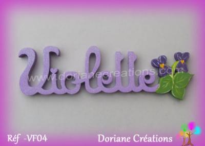 Prénom lettres bois décor violettes