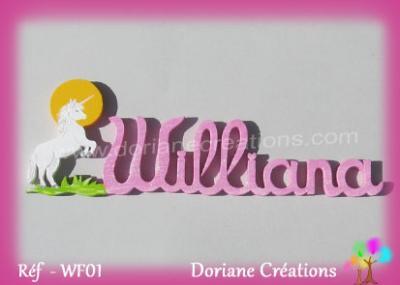 Prénom lettres bois avec décor licorne