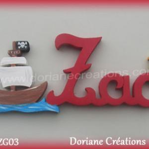 Prenom lettres bois zac bateau pirate