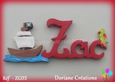 Prénom lettres bois bateau et perroquet