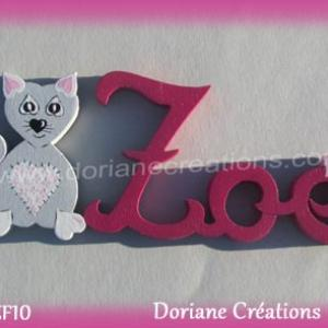 Prenom lettres bois zoe avec chat