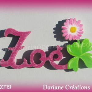 Prenom lettres bois zoe avec paquerette