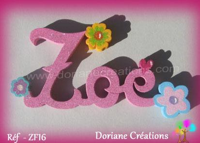 Prenom lettres bois zoe deco fleurs