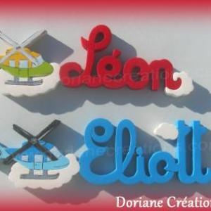 Prenom lettres en bois helicoptere