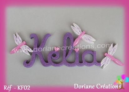 Prenom lettres en bois kelia avec libellules