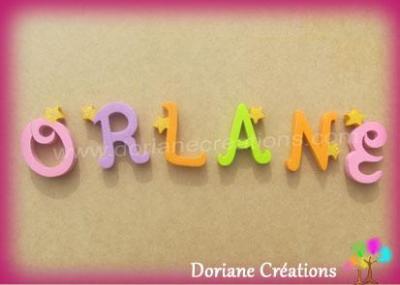 Lettres en bois étoiles ORLANE