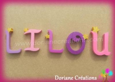 Lettres en bois étoiles LILOU