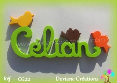 Prénom lettres en bois Célian