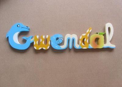 Prénom lettres en bois Gwendal