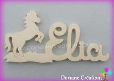 Prénom lettres bois naturel cheval cabré