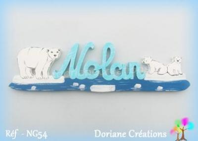 07 - prénom en bois avec ourse et oursons polaires