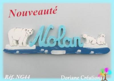 prénom en bois banquise ours polaires