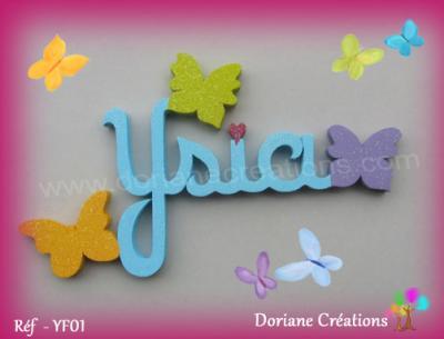 04 lettres - prénom bois papillons unis
