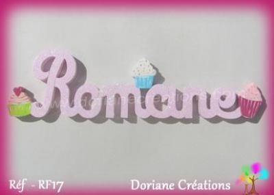Prénom lettres bois cupcakes