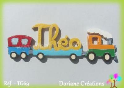 06 - Prénom lettres bois train