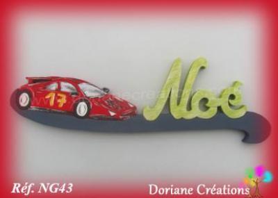 prénom en bois voiture de course